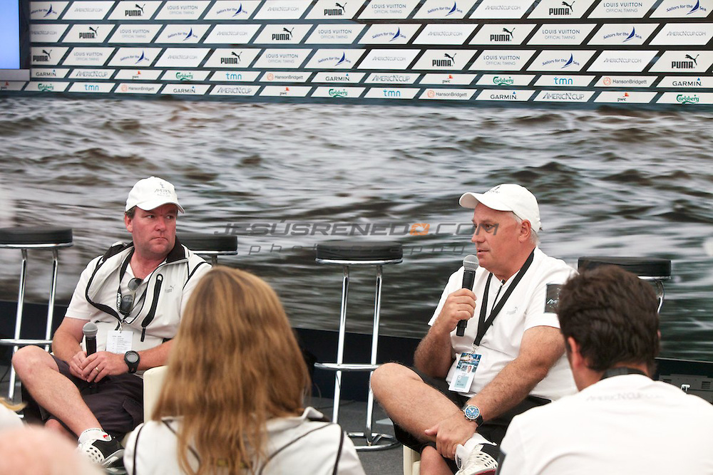 AC World Series,Cascais,Portugal.Americas Cup Principal Race Officer John Craig and Iain Murray,Regatta Director for the ACWS and Americas cCup events..