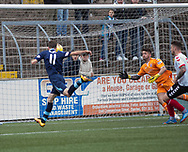 Danny Denholm heads home the opening goal during Forfar's 3-0 win over Clyde in SPFL League Two  at Station Park, Forfar, Photo: David Young<br /> <br />  - &copy; David Young - www.davidyoungphoto.co.uk - email: davidyoungphoto@gmail.com