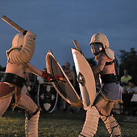 Aquileia, Italy - 17 June 2018: Gladiators fight during Tempora in Aquileia, ancient Roman historical re-enactment