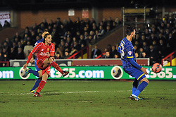 Liverpool's Lazar Markovic takes a shot at goal. - Photo mandatory by-line: Dougie Allward/JMP - Mobile: 07966 386802 - 05/01/2015 - SPORT - football - London - Cherry Red Records Stadium - AFC Wimbledon v Liverpool - FA Cup - Third Round