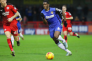 Armand Gnanuillet of Stevenage attacking during the Sky Bet League 2 match between Crawley Town and Stevenage at the Checkatrade.com Stadium, Crawley, England on 26 December 2015. Photo by Phil Duncan.