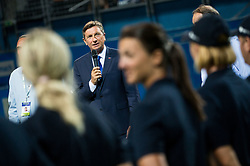Borut Pahor, president of Slovenia during the Trophy ceremony after the Final Singles match at Day 9 of ATP Challenger Zavarovalnica Sava Slovenia Open 2018, on August 11, 2018 in Sports centre, Portoroz/Portorose, Slovenia. Photo by Vid Ponikvar / Sportida