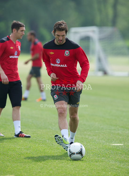 LONDON, ENGLAND - Monday, May 21, 2012: Wales' Sam Ricketts training at Chelsea's Cobham Training Centre ahead of the trip to the USA to face Mexico in a friendly match. (Pic by David Rawcliffe/Propaganda)
