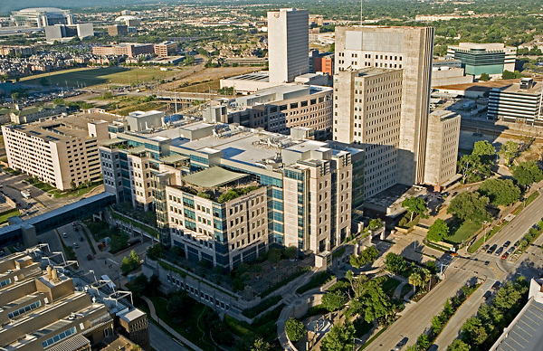 Stock photo of an aerial view of the Texas Medical Center, Houston
