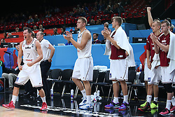 Janis Blums and other players of Latvia celebrate during basketball match between Latvia and Slovenia at Day 8 in Round of 16 of FIBA Europe Eurobasket 2015, on September 12, 2015, in LOSC Lile stadium, Croatia. Photo by Marko Metlas / MN PRESS PHOTO / SPORTIDA