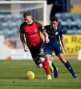 8th September 2019; Dens Park, Dundee, Scotland; Tunnocks Caramel Wafer Cup, Dundee Football Club versus Elgin City; Shane Sutherland of Elgin City and Shaun Byrne of Dundee