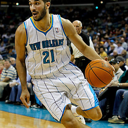 February 2, 2012; New Orleans, LA, USA; New Orleans Hornets point guard Greivis Vasquez (21) against the Phoenix Suns during a game at the New Orleans Arena. The Suns defeated the Hornets 120-103.  Mandatory Credit: Derick E. Hingle-US PRESSWIRE