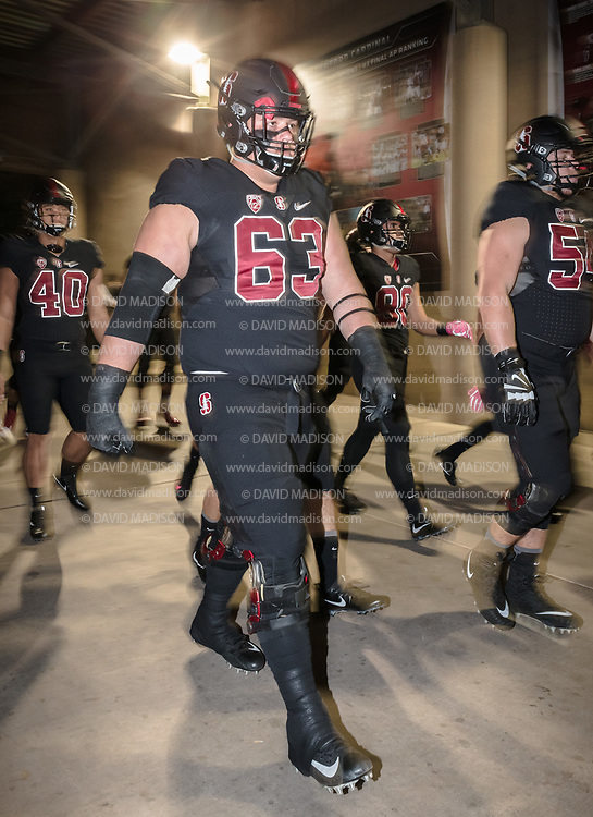 PALO ALTO, CA - OCTOBER 14:  Nate Herbig #63 of the Stanford Cardinal enters the stadium during an NCAA Pac-12 football game against the Oregon Ducks played on October 14, 2017 at Stanford Stadium in Palo Alto, California.  (Photo by David Madison/Getty Images)