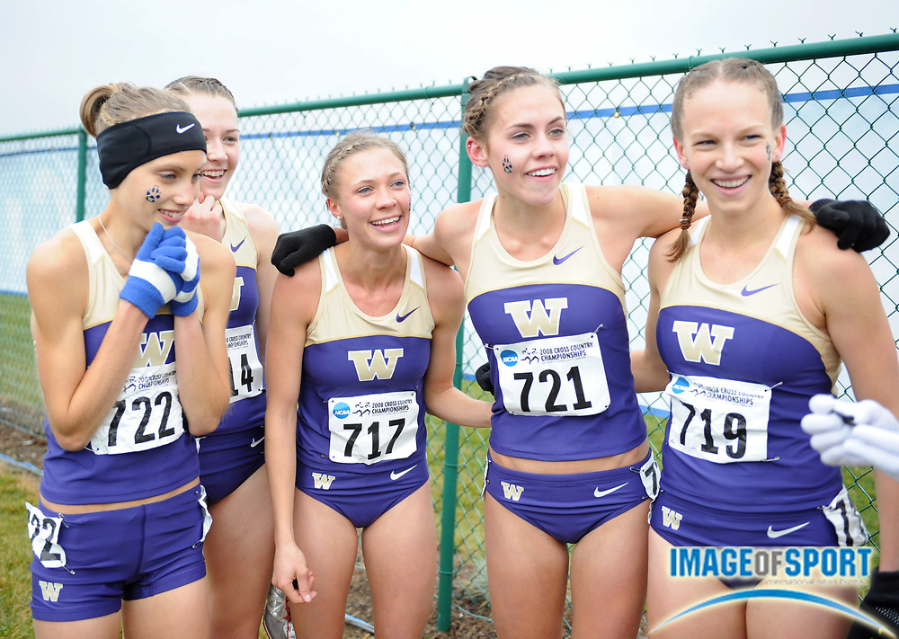 Nov 24, 2008; Terre Haute, IN, USA; Kendra Schaaf (722), Katie Follett (717), Lauren Saylor (721) and Amanda Miller (719) of Washington celebrate after winning the womens team title in the NCAA cross country championships at the LaVern Gibson cross country course.