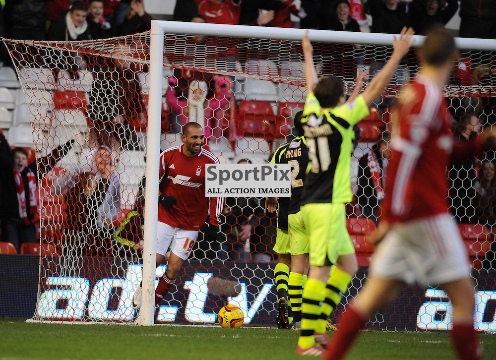 Forest Celebrate Their 3rd Goal By new Signing Rafik Djebbour, against Yeovil, Nottingham Forest v Yeovil, Sky Bet Championship, Sunday 2nd Febuary 2014