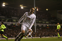 London, England - Wednesday, March 14, 2007: Tottenham Hotspur's Dimitar Berbatov celebrates scoring the first goal against SC Braga during the UEFA Cup match at White Hart Lane. (Pic by Chris Ratcliffe/Propaganda)
