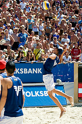 Gregor Schlierenzauer, Austrian ski jumper, at A1 Beach Volleyball Grand Slam tournament of Swatch FIVB World Tour 2010, bronze medal, on August 1, 2010 in Klagenfurt, Austria. (Photo by Matic Klansek Velej / Sportida)