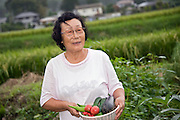 Traditional Japanese dance instructor Kiwako Shimizu, who took on the role of guardian for orphaned children in Rikuzentakata, Iwate Prefecture, gathers vegetables in her patch in Rikuzentakata, Iwate Prefecture Japan on 04 Sept. 2011. Photograph: Robert Gilhooly
