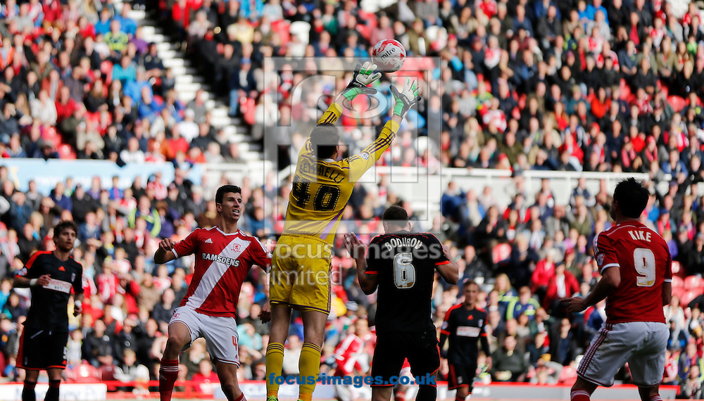 Marcus Bettinelli of Fulham taking a catch during the Sky Bet Championship match at the Riverside Stadium, Middlesbrough<br /> Picture by Simon Moore/Focus Images Ltd 07807 671782<br /> 04/10/2014