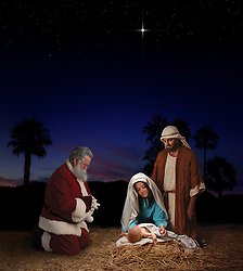 Christmas nativity scene with Santa Claus kneeling before Jesus, Mary & Joseph