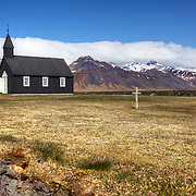 Black church by the sea at Buðir, on the Snaefellsnes Peninsula in western Iceland.