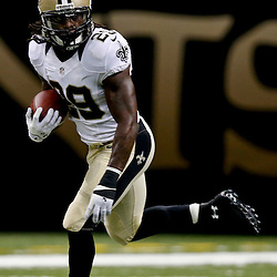 Aug 16, 2013; New Orleans, LA, USA; New Orleans Saints running back Khiry Robinson (29) against the Oakland Raiders during the second half of a preseason game at the Mercedes-Benz Superdome. The Saints defeated the Raiders 28-20. Mandatory Credit: Derick E. Hingle-USA TODAY Sports