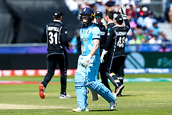 Eoin Morgan of England cuts a dejected figure - Mandatory by-line: Robbie Stephenson/JMP - 03/07/2019 - CRICKET - Emirates Riverside - Chester-le-Street, England - England v New Zealand - ICC Cricket World Cup 2019 - Group Stage