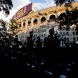 Sep 25, 2010; Baton Rouge, LA, USA; The LSU Tiger Band perform outside for fans prior to a game between the LSU Tigers and the West Virginia Mountaineers at Tiger Stadium.  Mandatory Credit: Derick E. Hingle