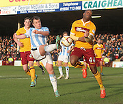 Dundee's Paul McGowan and Motherwell's Anthony Straker - Motherwell v Dundee, SPFL Premiership at Fir Park<br /> <br />  - &copy; David Young - www.davidyoungphoto.co.uk - email: davidyoungphoto@gmail.com