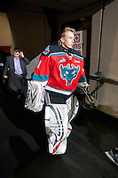KELOWNA, CANADA - NOVEMBER 7:  Sam Bobyn #31 of the Kelowna Rockets heads to the bench at the start of third period against the  Edmonton Oil Kings at the Kelowna Rockets on November 7, 2012 at Prospera Place in Kelowna, British Columbia, Canada (Photo by Marissa Baecker/Shoot the Breeze) *** Local Caption ***