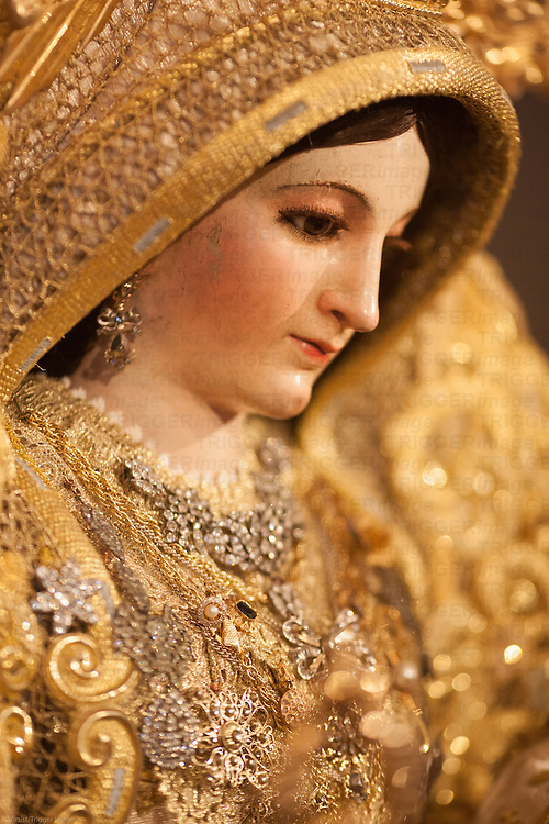 Close-up image of Our Lady of the Rosary (Virgen del Rosario), an anonymous carving from the 18th century, San Martin church, Carrion de los Cespedes, Seville, Spain
