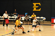 October 28, 2017 - Johnson City, Tennessee - Brooks Gym: ETSU defensive specialist Hailey Aguilar (1), ETSU libero Marija Popovic (9)<br /> <br /> Image Credit: Dakota Hamilton/ETSU