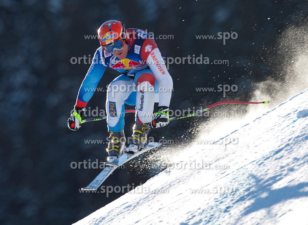 18.01.2012, Hahnenkamm, Kitzbuehel, AUT, FIS Weltcup Ski Alpin, 72. Hahnenkammrennen, Herren, Abfahrt 2. Training, im Bild Didier Cuche (SUI) // Didier Cuche of Switzerland during Downhill 2nd practice of 72th Hahnenkammrace of FIS Ski Alpine World Cup at 'Streif' course in Kitzbuhel, Austria on 2012/01/18. EXPA Pictures © 2012, PhotoCredit: EXPA/ Johann Groder