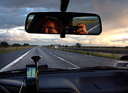 UK ENGLAND 6JUL08 - Self-portrait while driving along the A1M southbound from Newcastle, northern England...jre/Photo by Jiri Rezac..© Jiri Rezac 2008..Contact: +44 (0) 7050 110 417.Mobile:  +44 (0) 7801 337 683.Office:  +44 (0) 20 8968 9635..Email:   jiri@jirirezac.com.Web:    www.jirirezac.com..All images © Jiri Rezac 2008. All rights reserved.