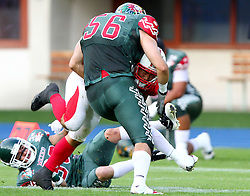 15.07.2011, Ernst Happel Stadion, Wien, AUT, American Football WM 2011, Japan (JAP) vs Mexico (MEX), im Bild Takuya Furutani (Japan, #20, RB) gets stopped by Padilla Manuel (Mexico, #56, LB)  // during the American Football World Championship 2011 game, Japan vs Mexico, at Ernst Happel Stadion, Wien, 2011-07-15, EXPA Pictures © 2011, PhotoCredit: EXPA/ T. Haumer