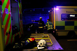 Anna Branthwaite, Camden, London<br /> 19/04/2014<br /> Emergency services rests after attending to a fire that started inside the Stables at Camden Market. <br /> Photo: Anna Branthwaite/LNP