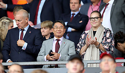 Southampton chairman Ralph Krueger (left) with owners Gao Jisheng (centre) and Katharina Liebherr in the stands before the Premier League match at St Mary's, Southampton.