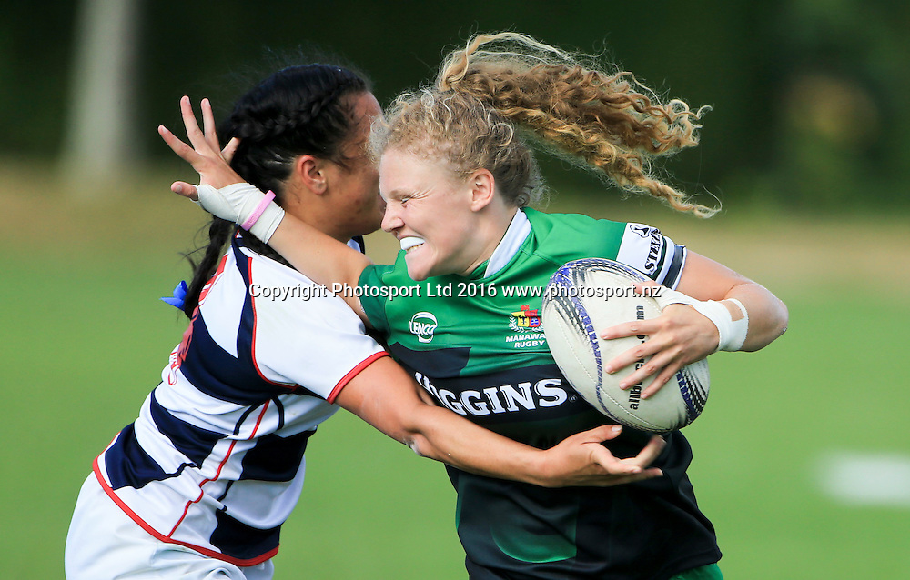 Manawatu womens Karin Ingram in action against Auckland, day 1, Baileys National Sevens, International stadium, Rotorua, New Zealand, 16 January 2016. Copyright photo: John Cowpland / www.photosport.nz