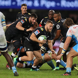 DURBAN, SOUTH AFRICA - APRIL 14: Akker van der Merwe of the Cell C Sharks on attack during the Super Rugby match between Cell C Sharks and Vodacom Bulls at Jonsson Kings Park Stadium on April 14, 2018 in Durban, South Africa. (Photo by Steve Haag/Gallo Images)