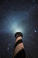 Milky Way stretches out across a starry sky above the Cape Hatteras Lighthouse