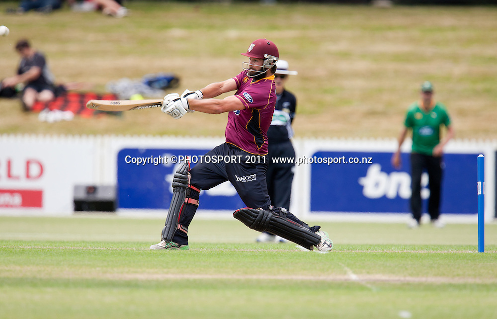 Knights' Anton Devcich bats during the Ford Trophy Cricket - Northern Knights v Central Stags one day match, at Seddon Park, Hamilton, New Zealand, 11 December 2011. Photo: Stephen Barker/photosport.co.nz