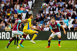 Antonio Mance of NK Domzale and Havard Nordtveit of West Ham during 2nd Leg football match between West Ham United FC and NK Domzale in 3rd Qualifying Round of UEFA Europa league 2016/17 Qualifications, on August 4, 2016 in London, England.  Photo by Ziga Zupan / Sportida