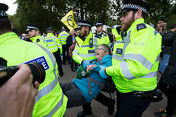 © Licensed to London News Pictures. 09/10/2019. London, UK. Police remove Extinction Rebellion protesters from a roadblock on Horse Guards Road. Police continue to attempt to clear roads in Westminster on the third day of the protest.  Photo credit: George Cracknell Wright/LNP