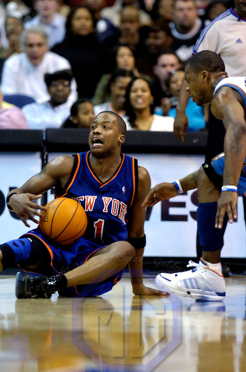 10 March 2007:   New York Knicks guard Steve Francis (1) slips to the floor with a minute remaining in the second half as Washington Wizard guard DeShawn Stevenson (r) moves in to take the ball at the Verizon Center in Washington, D.C.  Francis was able to call a time out and the Knicks defeated the Wizards 90-89 on a last second three point shot by Francis.