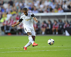 "Swansea City's Wayne Routledge see's his shot go just wide  - Photo mandatory by-line: Joe Meredith/JMP - Tel: Mobile: 07966 386802 22/08/2013 - SPORT - FOOTBALL - Liberty Stadium - Swansea -  Swansea City V Petrolul Ploiesti - Europa League Play-Off EDITORIAL USE ONLY. No use with unauthorised audio, video, data, fixture lists, club/league logos or ""live"" services. Online in-match use limited to 45 images, no video emulation. No use in betting, games or single club/league/player publications"
