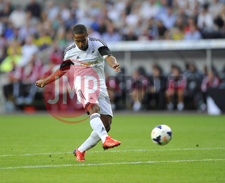 """Swansea City's Wayne Routledge see's his shot go just wide  - Photo mandatory by-line: Joe Meredith/JMP - Tel: Mobile: 07966 386802 22/08/2013 - SPORT - FOOTBALL - Liberty Stadium - Swansea -  Swansea City V Petrolul Ploiesti - Europa League Play-Off EDITORIAL USE ONLY. No use with unauthorised audio, video, data, fixture lists, club/league logos or """"live"""" services. Online in-match use limited to 45 images, no video emulation. No use in betting, games or single club/league/player publications"""