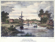 Stourport-on-Severn from above the bridge.  On left where many masts are shown, is the entrance to the Staffordshire and Worcester Canal. Stourport, at the junction of the rivers Stour and Severn, with the coming of canals in England after 1772, grew from just an ale house into a thriving port. Illustration by Samuel Ireland (d1800) for his 'Picturesque Views of the River Severn', (c1795). Hand-coloured. Lithograph.