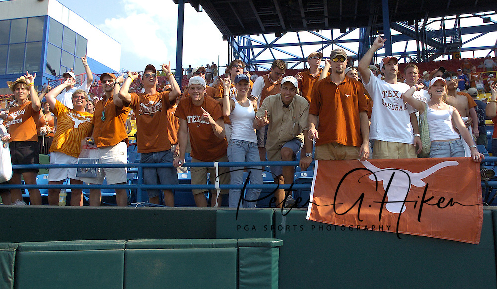 Longhorn fans celebrate, after Texas defeated Florida for the National Championship at the College World Series in Omaha, Nebraska on June 26, 2005.
