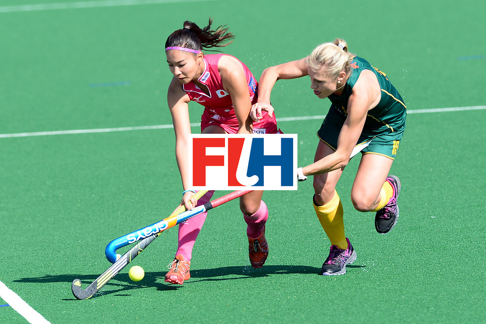 JOHANNESBURG, SOUTH AFRICA - JULY 22: Maho Segawa of Japan tackled by Shelley Jones of South Africa during day 8 of the FIH Hockey World League Women's Semi Finals 5th-6th place match between Japan and South Africa at Wits University on July 22, 2017 in Johannesburg, South Africa. (Photo by Getty Images/Getty Images)