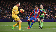 Joel Ward and Wayne Hennessey combine to stop Shane Long during the Barclays Premier League match between Crystal Palace and Southampton at Selhurst Park, London, England on 12 December 2015. Photo by Michael Hulf.