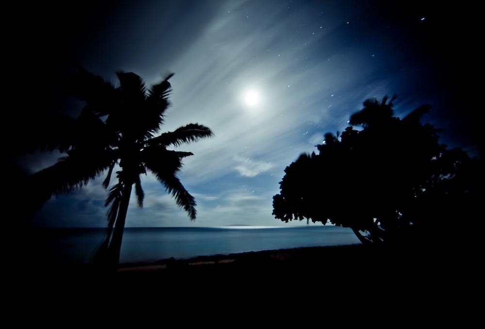 Beach and Ocean at Night, Full Moon Silhouetting Palm Trees, Fiji