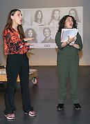 2019, June 04. JvE Studio, Almere, The Netherlands. Myrthe Burger and Daphne Groot at the press presentation of Mammoet.