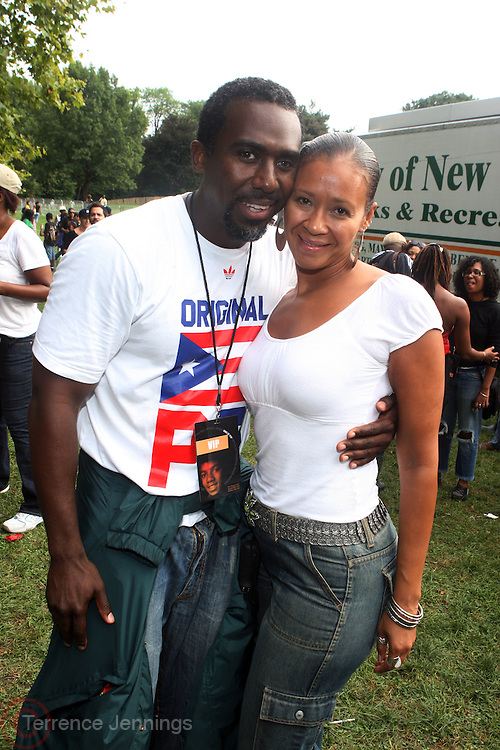 l to r: Gano Grills and Cynthia Santiago at the Spike Lee's Brooklyn celebration for Michael Jackson's Birthday held at the Neader field in Prospect Park, Brooklyn on August 29, 2009..Filmmaker Spike Lee celebrates the ' King of Pop ' Birthday with a crowd packed party remembering the recently departing All time Great with a day long spinning of his music in Brooklyn's own Prospect Park