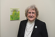 Dr. Ellen Goldsberry stands beside her plaque inside the new Distinguished Professorship room on the first floor of the newly renovated McCracken Hall on January 27, 2017.