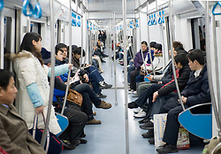 Interior of new subway carriage on Beijing metro 2009